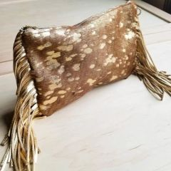 Tan with Gold Fleck Hair on Hide Genuine Leather Clutch Handbag