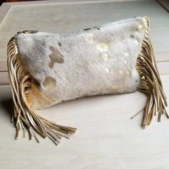 Cream with Gold Fleck Hair-on-Hide Genuine Leather Clutch Handbag