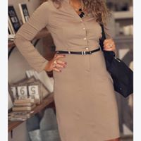 Business as Usual Taupe Midi Dress