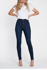 Claire High Rise Ultra Skinny Button Fly Denims
