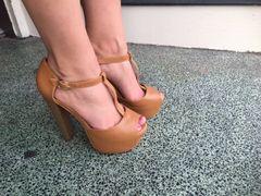 Cognac T-Strap Chunky Heel