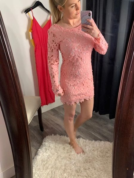 Pink Crochet Dress with Pearl Accents