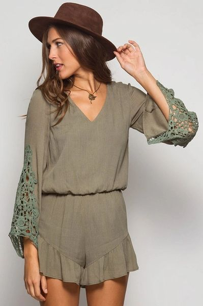Olive Romper with Crochet detailed sleeve
