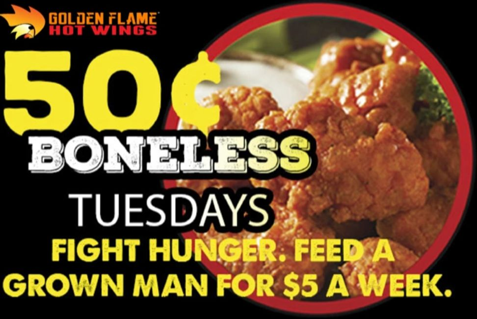 Boneless wings, Boneless wing deal, Golden Flame