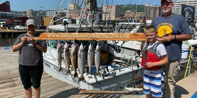 Lake trout, king salmon, coho salmon, brown trout, rainbow trout, steelhead, walleye