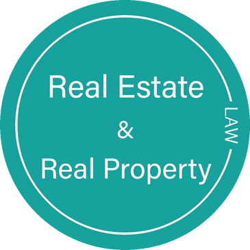 Real estate and real property law in a green circle.