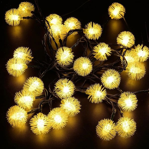Quace Snowflake Solar String Lights 6m/20ft 30 LED Water-Resistant Lights Festival Decoration String Lights for Indoor Outdoor Bedroom Patio Lawn Garden Wedding Party Decorations - Warm White