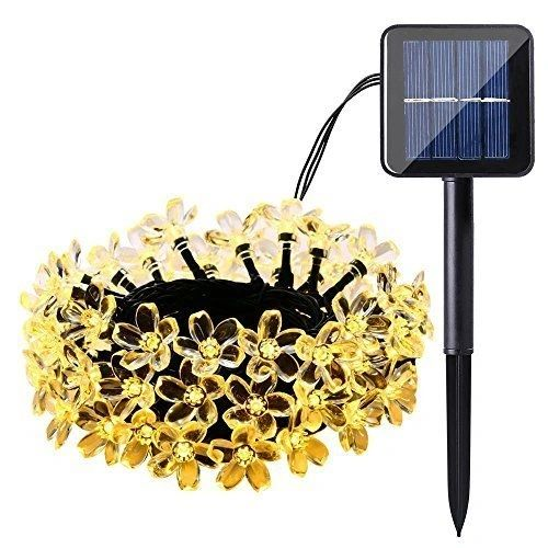 Quace Blossom Flower Solar String Lights 6m/20ft 30 LED Water-Resistant Lights Festival Decoration String Lights for Indoor Outdoor Bedroom Patio Lawn Garden Wedding Party Decorations - Warm White