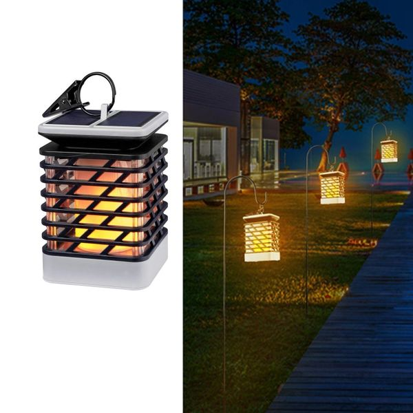 Quace Flickering Flame Torch Lights Solar Powered Lantern Hanging Decorative Atmosphere Lamp for Pathway Garden Deck Christmas Holiday Party Waterproof Auto On/Off