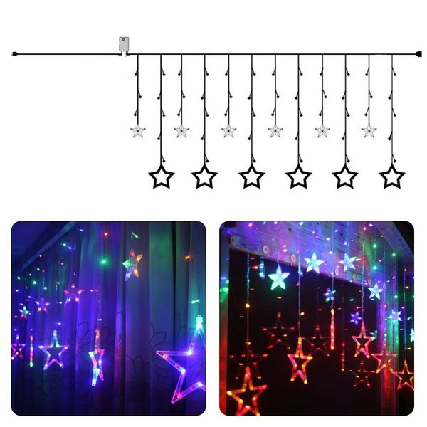 Quace 12 Stars 138 LED Curtain String Lights, Window Curtain Lights with 8 Flashing Modes Decoration for Christmas, Wedding, Party, Home, Patio Lawn, (138 LED - Star) - Multi Colored