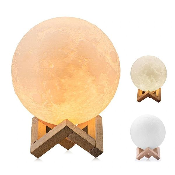Quace [Upgraded Version] 3D Printing LED Moon Lamp Lighting Night Light,Touch Sensor Switch 2 Brightness Changeable 3000k 6000k Lunar, USB Rechargeable Decorative Lights, Dimmable 12 cm Diameter