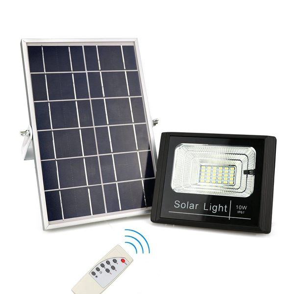 Solar Flood Lights Waterproof IP67 Auto On/Off Outdoor Remote Control Solar Powered Security Lighting for Yard, Garden, Swimming Pool, Pathway (10W New & Improved Version)