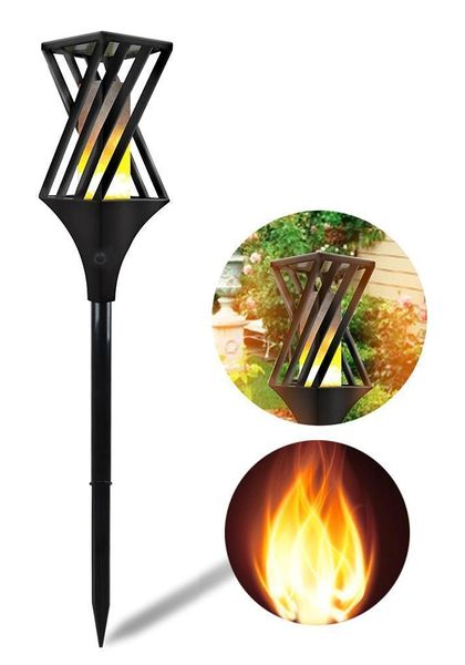 Quace Solar Flame Lights Outdoor Waterproof Flicker Torch Light Landscape Decor Dusk to Dawn Auto On/Off Security Path Lights for Garden Patio Deck Yard Driveway - 2 Units …