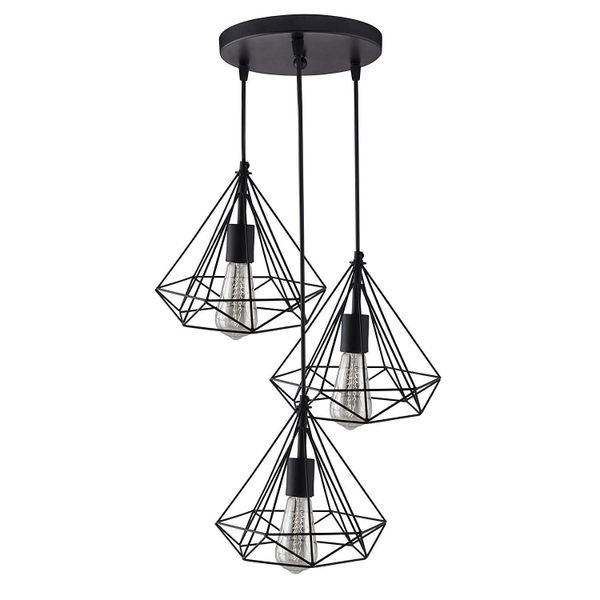 Coudre Triple Light Set Round Cluster Chandelier Black Diamond Hanging Pendant Light with Braided Cord (Bulbs Not Included)
