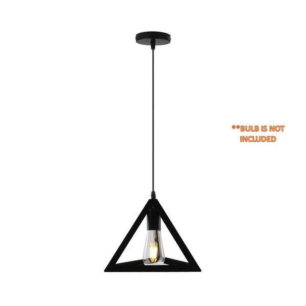 Coudre Triangle Metal Vintage Pendant Light Fixture E26/E27 Base, Hanging Light Vintage Ceiling Light Lamp Retro Style for Dining Hall Restaurant Bar Lighting, 110V-220V(1 Unit)