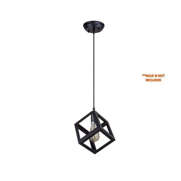 Coudre Cube Metal Vintage Pendant Light Fixture E26/E27 Base, Hanging Light Vintage Ceiling Light Lamp Retro Style for Dining Hall Restaurant Bar Lighting, 110V-220V(1 Unit)