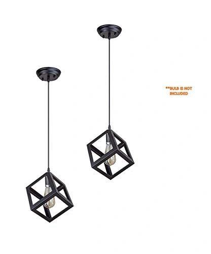 Coudre Cube Metal Vintage Pendant Light Fixture E26/E27 Base, Hanging Light Vintage Ceiling Light Lamp Retro Style for Dining Hall Restaurant Bar Lighting, 110V-220V(2 Units)