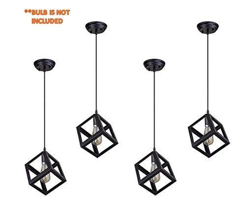 Coudre Cube Metal Vintage Pendant Light Fixture E26/E27 Base, Hanging Light Vintage Ceiling Light Lamp Retro Style for Dining Hall Restaurant Bar Lighting, 110V-220V(4 Units) …