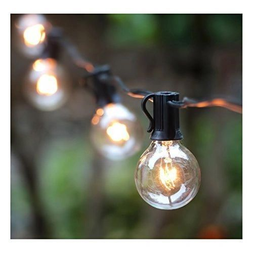 Quace Plastic G40 Globe Backyard Patio Hanging Indoor/Outdoor String Lights with Filament Bulbs, 25ft(Yellow)