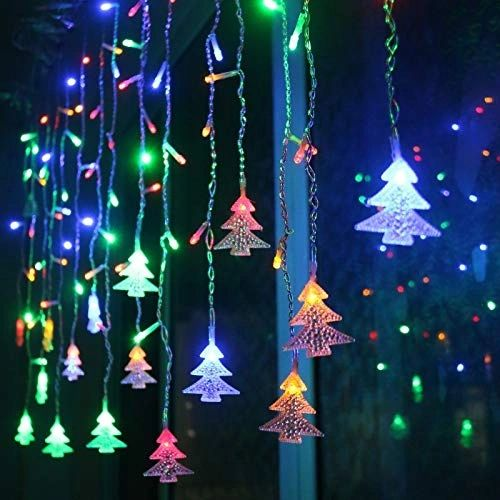 Quace Curtain String Lights Christmas Curtain Lights, 8 Modes, 96 LEDs 3.5M Christmas and Halloween String Lights for Home, Office, Party, bar, Holiday, Party (RGB)