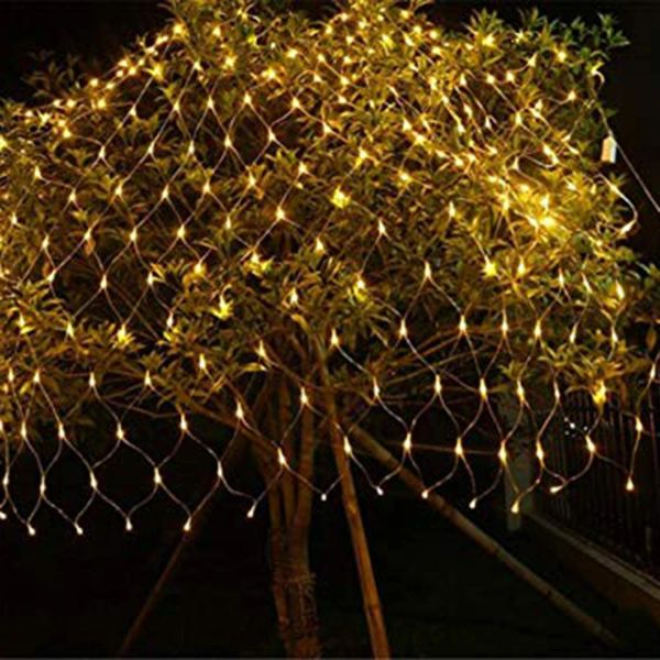 Quace LED Fairy String Decorative Net Lights Net Mesh Tree-wrap Lights Low Voltage for Christmas Wedding Garden Outdoor Decorations Warm White 144 LEDs 2m x 2m