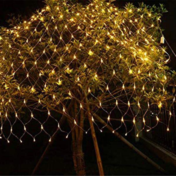 Quace LED Fairy String Decorative Net Lights Net Mesh Tree-wrap Lights Low Voltage for Christmas Wedding Garden Outdoor Decorations Warm White 96 LEDs 1.5m x 1.5m