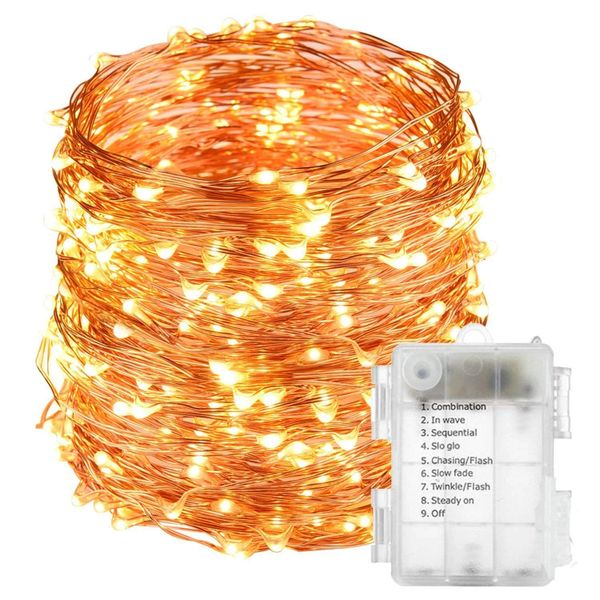 Quace 10 Meters 100 Led Warm White Battery Operated With 8 Functions , Waterproof Battery Box Copper String Led Lights