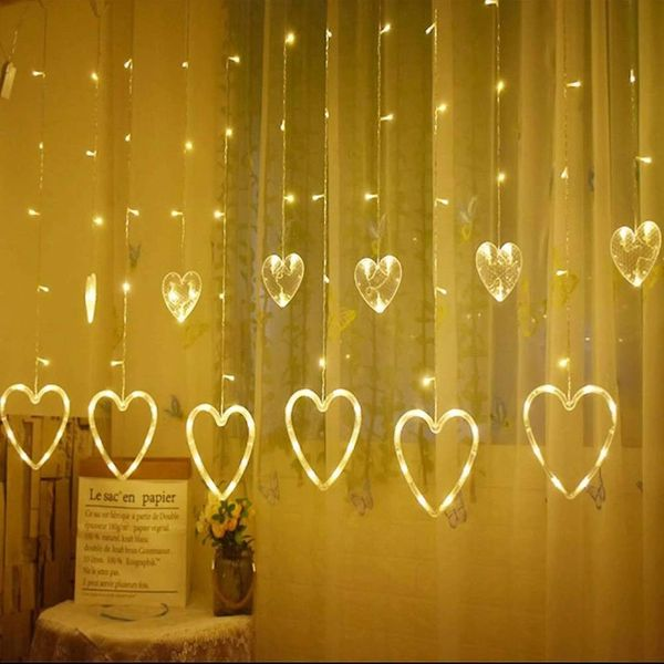 Quace 138 LED Curtain String Lights with 8 Flashing Modes Decoration(12 Hearts Warm White)