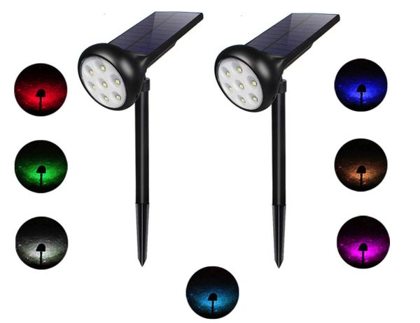Quace Upgraded Solar Powered Outdoor Garden Spotlight Solar Panel Colorful Changing/Adjustable 200 Degrees Angle(Pack of 2)