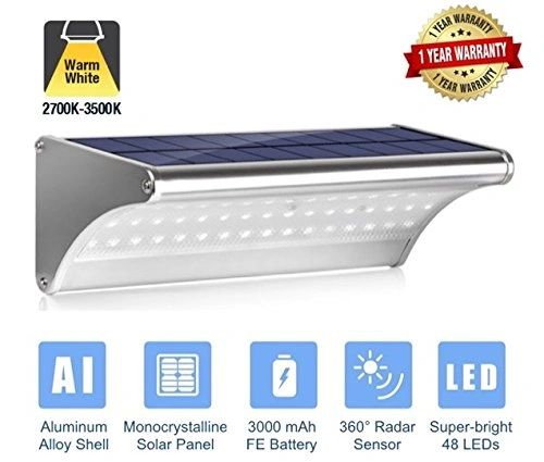 Quace Super Bright 48 LED Solar Light, Microwave Radar Motion Sensor, IP65 Weather-Proof Aluminium Alloy Shell, Yellow - 1 Unit