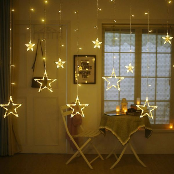 Quace 138 LED Curtain String Lights with 8 Flashing Modes Decoration(12 Stars, Warm White)