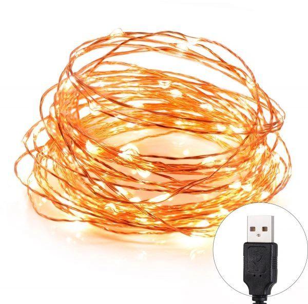 Quace USB Powered 5M 50 LED Copper String Festival Decoration Light