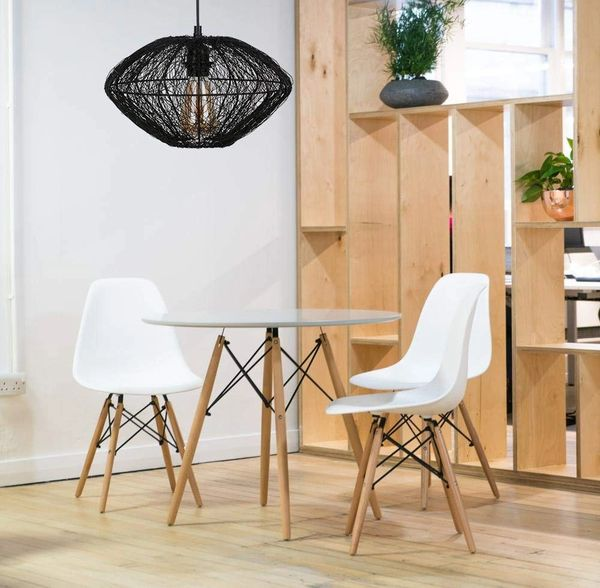 Coudre Wire Mesh Hanging Pendant Light Ceiling Decorative Chandelier Light Lamp for Living Room, Home, Bedroom, Jhumar Lighting for Home Decor Items (Black, Bulb not Included) (Style 2)