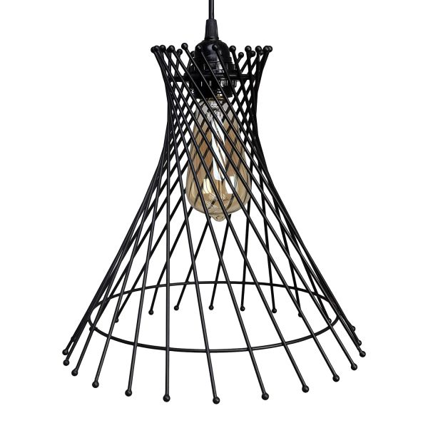 COUDRE Industrial Vintage Hemp Rope Ball Chandelier Globe Round Pendant Lamp Ceiling Light (Bulb Not Included, Broom)