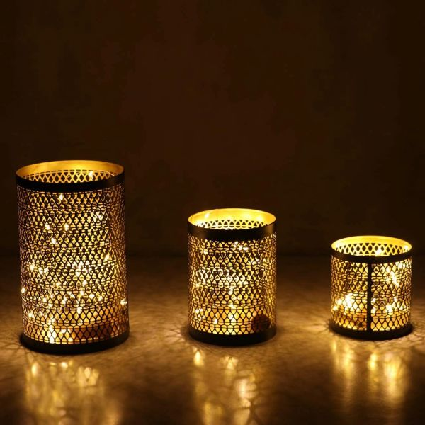 Coudre Set of 3 Nordic Style Candle Holder Geometric Metal Iron Art Candle Base Restaurant Party Night Light Decoration Adornment Crafts, Luxury Candle Holders