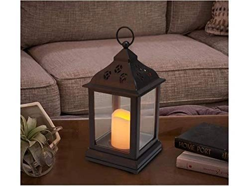 Coudre Vintage Styled AA Battery Powered(Not Included) Lantern with LED Flickering Flameless Candle (CandleLantern, 1 Unit)