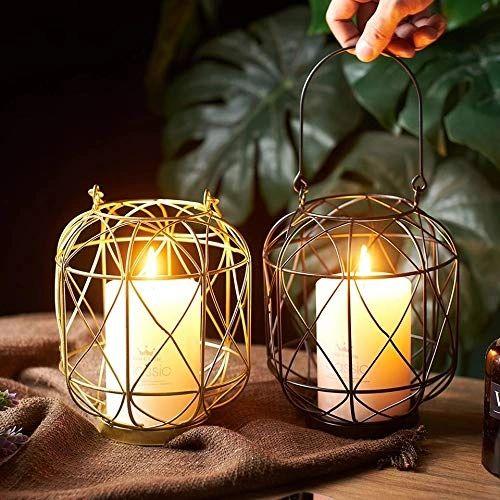 Quace Set of 2 Metal Hanging Lantern Candle Holder- Golden