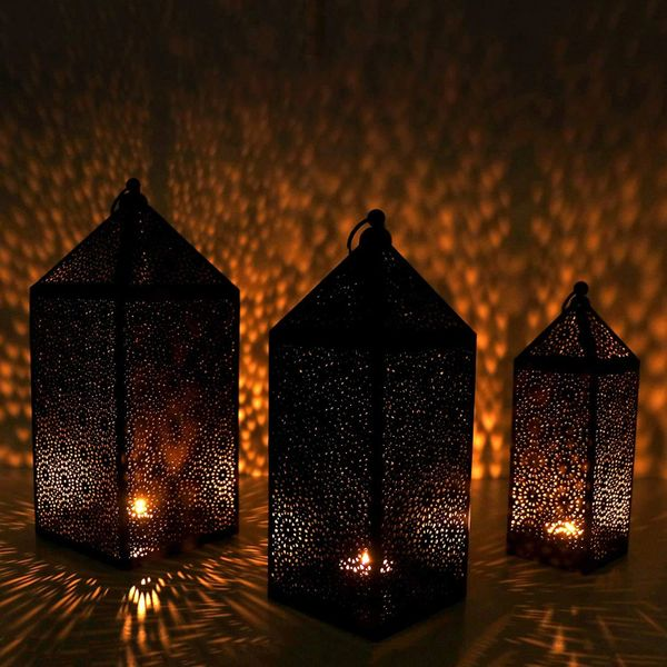 Quace Set of 3 Metal Handcrafted Lantern - Black (Handcrafted Metal)