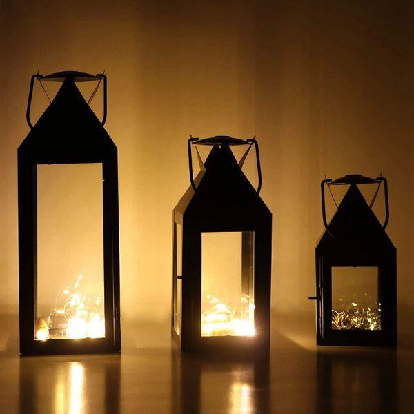 Quace Metal Glass Candle Holder Lantern, Black -Set of 3