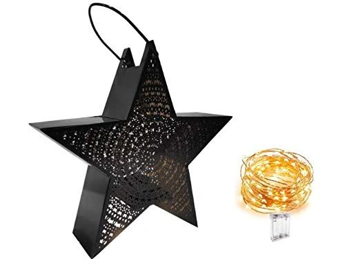Quace Star Etched Tealight Lantern Holder Black with Fairy String Light