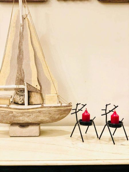 Quace Christmas Reindeer Candle Tealight Holders (Black) - Pack of 2