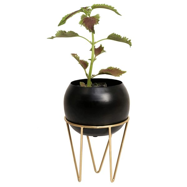 Coudre Home Decorative Metal Planters with Stand (Blackbowl-1)