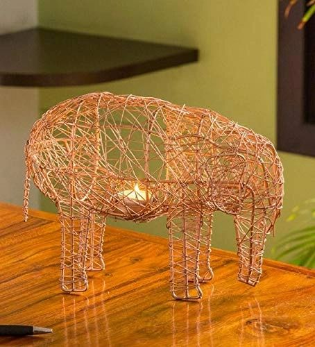 Quace 'The Elephant Mesh' Handwoven Showpiece & Table Tea-Light Holder in Iron (12 Inch, Gold)