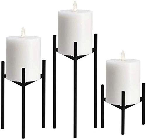 Coudre Set of 3 Black Candlesticks (Black, Set of 3)