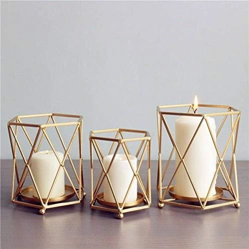 Coudre Set of 3 Nordic Style Candle Holder Gold Geometric Metal Iron Art Candle Base Restaurant Party Night Light Decoration Adornment Crafts, Luxury Candle Holders