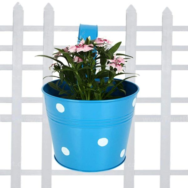 Coudre Dotted Round Railing Planters for Balcony, Terrace Garden, Flower pots for Home Decoration (Blue)