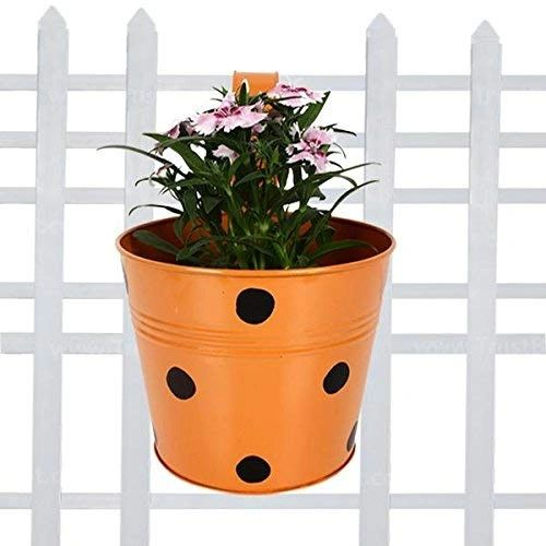 Coudre Dotted Round Railing Planters for Balcony, Terrace Garden, Flower pots for Home Decoration (Orange)