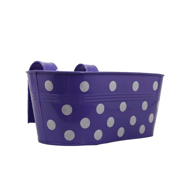 Coudre Dotted Oval Railing Planters for Balcony, Terrace Garden, Flower pots for Home Decoration (Purple)