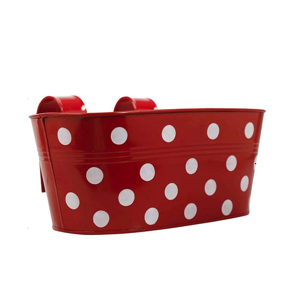 Coudre Dotted Oval Railing Planters for Balcony, Terrace Garden, Flower pots for Home Decoration (Red)