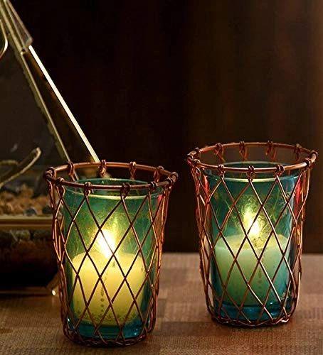 Quace Iron Candle Holder (Cage Glasses Set of 2)